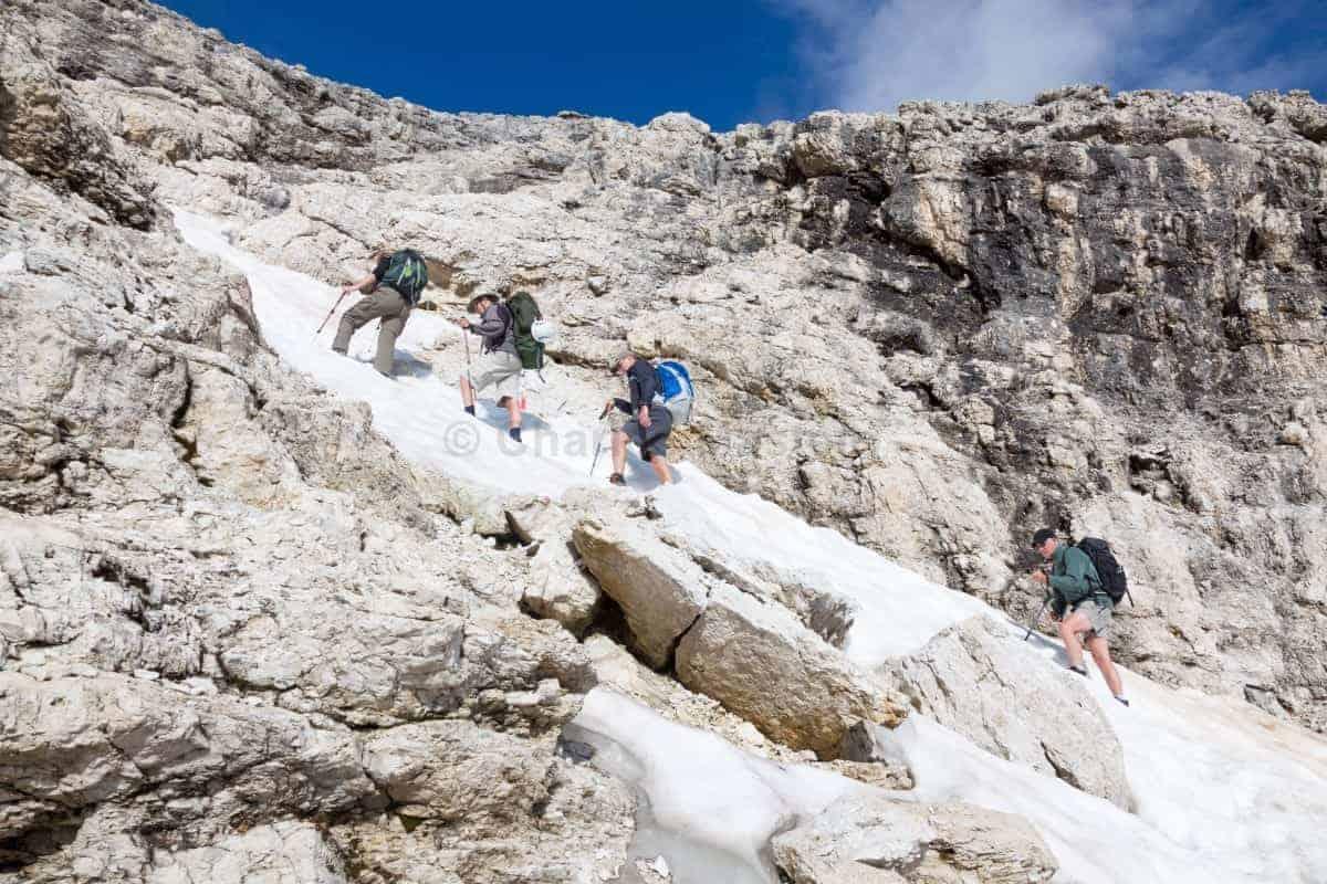 Alta Via 2 Dolomites Italy trekMountains Piz Boe snow patches (c) Charles Masters