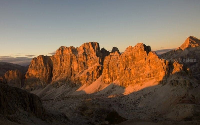 Sunset from Rifugio Lagazuoi Alta Via 1 Dolomites (c) Charles Masters